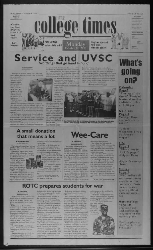 Uvu Academic Calendar.Uvsc College Times Utah Valley University Historical Student